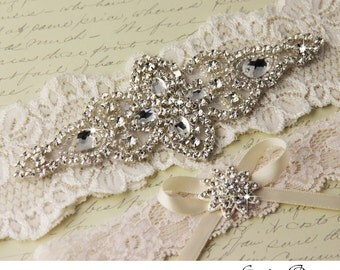 Wedding garter set, Cream Ivory stretch lace Bridal Garter set, Heirloom Rhinestone and Crystal garters