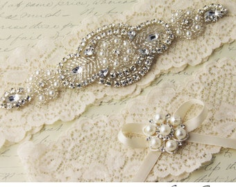 Bridal Garter Set, Ivory Lace Garter Set, Wedding Garter Set, Ivory Stretch Lace, Rhinestone and Crystal garters