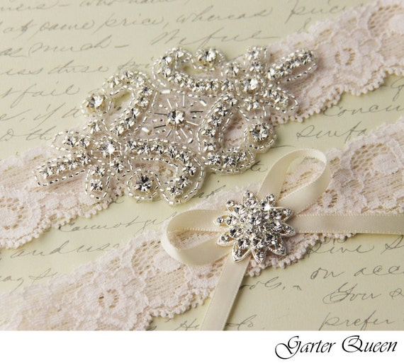 Ivory Garters Wedding: Ivory Lace Garter Set Wedding Garter Set Bridal Garter Set