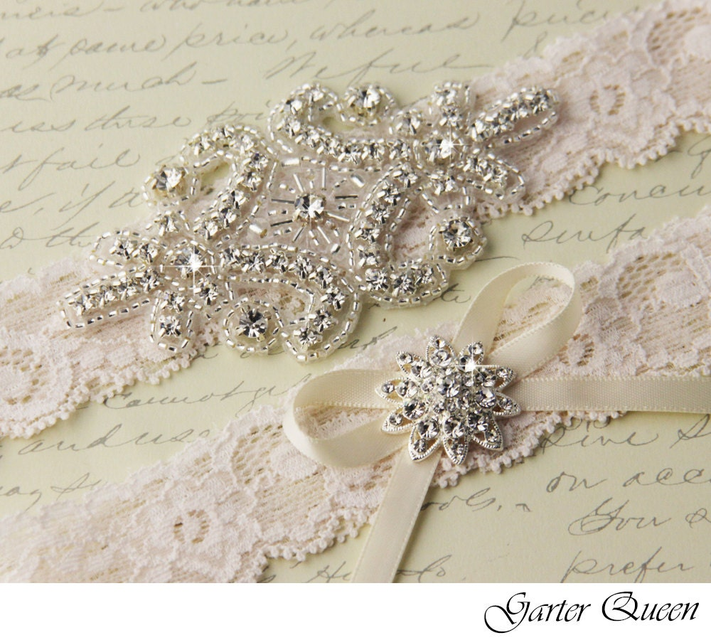 Lace Wedding Garters: Ivory Lace Garter Set Wedding Garter Set Bridal Garter Set