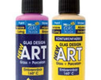 Clearance, 3  Transparent water-based glass paint- choose your colour