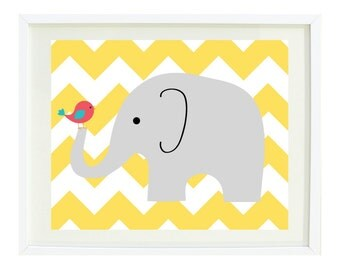 Chevron Elephant and Bird Art Print-11x14-Kids Room-Baby Girl/BoyNursery-Home Decor-Playroom-Yellow-Grey-Aqua-Red-White OR Choose Colors