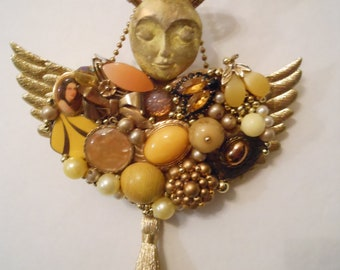 Junk Jewelry Art, Flea Market Art, Vintage Jewelry Collage, Topaz, Assemblage Artdoll, Art Doll Mixed Media, Amber Vintage Jewelry