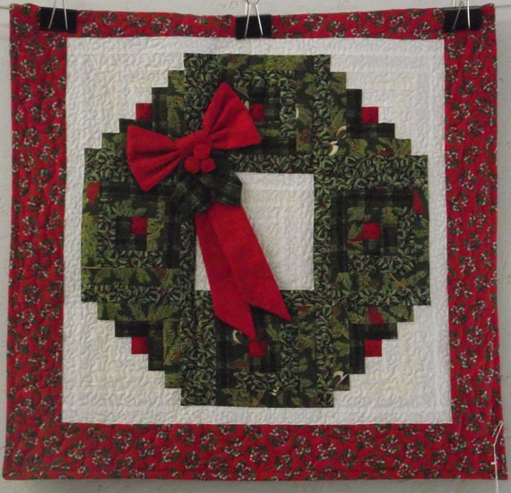 Christmas wreath wall hanging quilt by jwquiltshop on etsy
