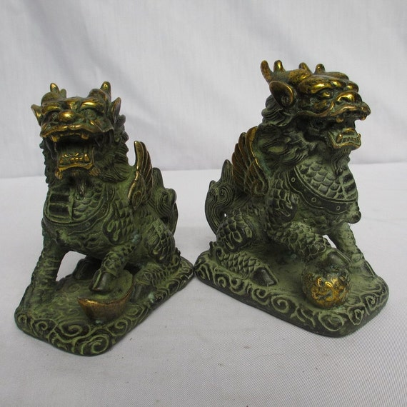 Antique Art Foo Dog Bronze Sculpture