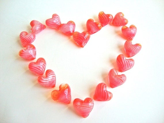2 pcs Handblown Glass Heart Beads - Clear Light Red with White Stripes. Heart Shaped Beads