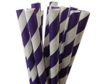 Purple Extra Long Paper Straws | Stripe Purple Straws | Purple Paper Straws | Tall Soda Bottles | Purple Baby Shower | Purple Party Decor