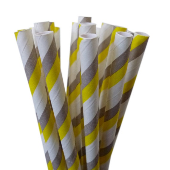 Yellow Striped Paper Straws Yellow And Gray Paper Straws
