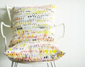 ON SALE: Cushion covers, colorful dots printed on Linen with an original design,Yellow, Red, Black, Grey, Lime
