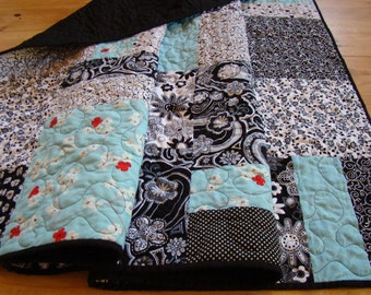 Modern Patchwork Lap Quilt - Black & White - Oversized Baby Quilt