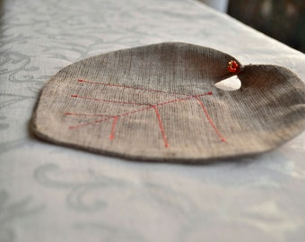 Brown Leaf Coasters with beads - Handmade Coaster - Drink Coaster