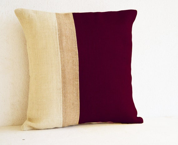 Throw Pillows Maroon : Burgundy Pillow Burlap Pillow color block Maroon Ivory