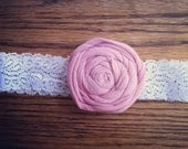 pink rose elastic lace headband