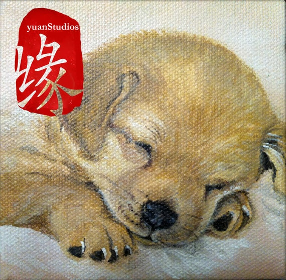 "Original Acrylic Animal Fine Art Painting Puppy Portrait on Gallery Canvas Titled: BELOVED COMPANION 4x4x1.5"" by Ms. Emily M."