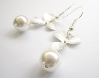 Silver Flower Orchid Earrings with Pearl