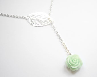 Romantic necklace with Mint flower cabochon rose and silver leaf