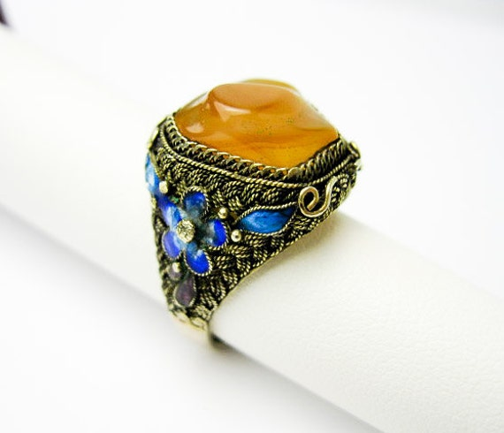 Layaway for TG    Vintage Deco Silver Filigree, Carnelian, Cloisonne Ring, China ca.1930