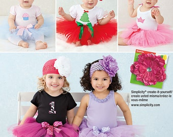 Simplicity 1956 Sewing Pattern Size A XS,S,M,L, Babies TuTu and Appliques, Babies Costume