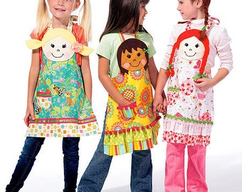 McCalls 6662 Childrens apron sewing pattern, Apron Pattern, Kids Apron Pattern size 3-8 Out of Print Pattern