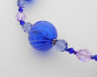 SALE 25% OFF-Blue Blown Glass & Swarovski Crystal Adjustable Necklace