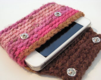 Phone Case Wallet Crocheted Pink and Brown