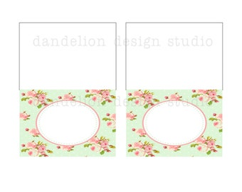PRINTABLE Fancy Tent Tags - Shabby Chic Party Collection - Dandelion Design Studio