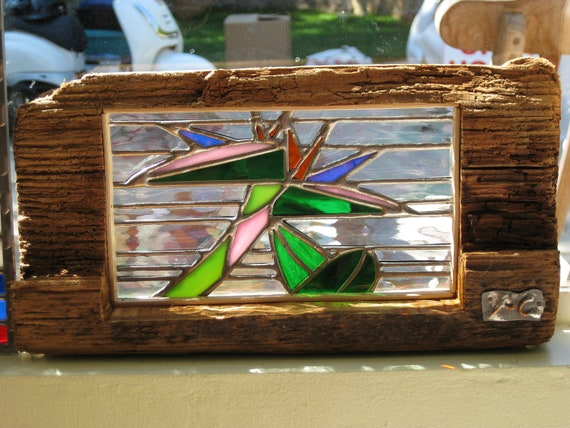 Items similar to stained glass design in driftwood frame for How to make stained glass in driftwood