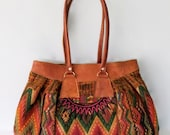 Reserved For Heather.   Perfect Fall Colors Vintage Large Southwestern Tapestry Purse / Ethnic Handbag with Leather Trim and Handles
