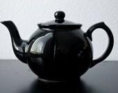 1950's/1960's Solid Black Ceramic or Porcelain Decorative Japanese Teapot
