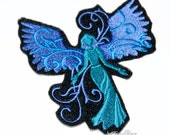 Blue Teal Green Water Faerie Angel Wings Iron On Embroidery Patch MTCoffinz