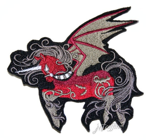Red gothic pegasus unicorn iron on embroidery patch by