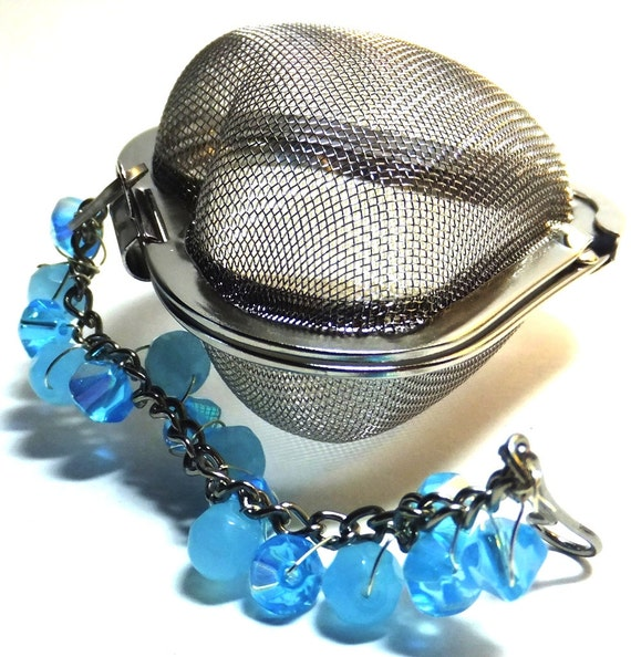 Tea Infuser Heart Shaped Teal Beads