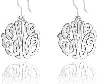 Order Initials of YOUR choice on handmade Monogram Earrings in Sterling Silver -ZE90834SH-SS