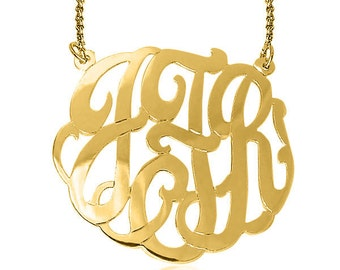 "2 "" wide 24k Gold over STERLING SILVER MONOGRAM - Your choice of 1-3 initials (ZC90832L-2in-gpss)"