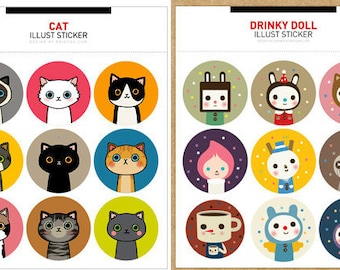 Korea Cat & Drinky Doll Waterproof Stickers - 2 Sheets