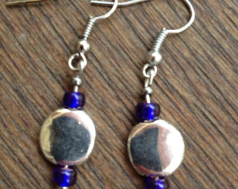 Silver and deep blue earrings