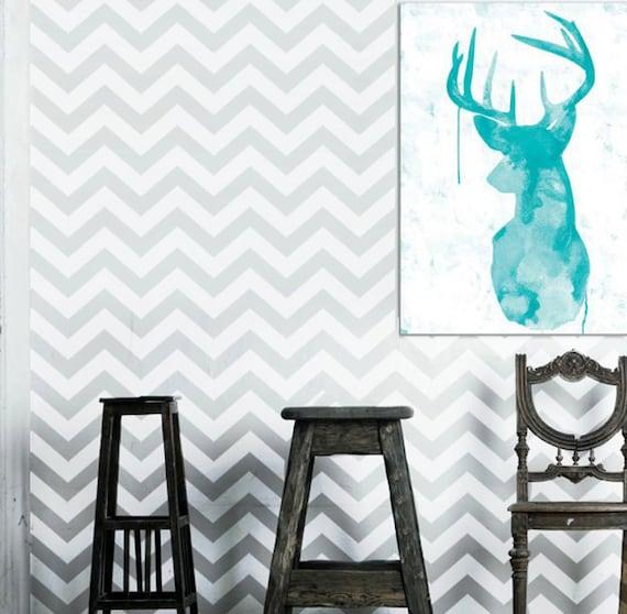wall stencil geometric chevron zig zag pattern by omgstencils