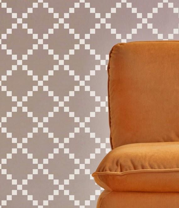 pochoir mural carr motif g om trique mur par omgstencils. Black Bedroom Furniture Sets. Home Design Ideas