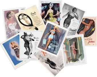 Vintage Lingerie Adverts Reproduced on Postcards Pack of 10 (no.1)