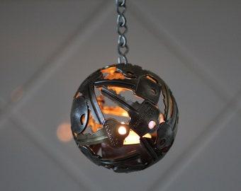 Mini key ball tea light, 8.5 cm, Key sphere, Metal sculpture ornament, Hanging tea light holder