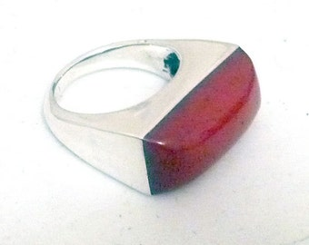 Handmade sterling silver ring with different color resin