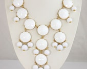 NEW Big size Faceted White Bubble Necklace,Bib Bubble Necklace,Statement Neckalce,bridesmaid necklace-Bubble003