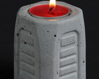 Cement Candle Holder, Future Relic #9, Small