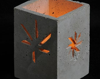 Cement Candle Holder, Season Symbols