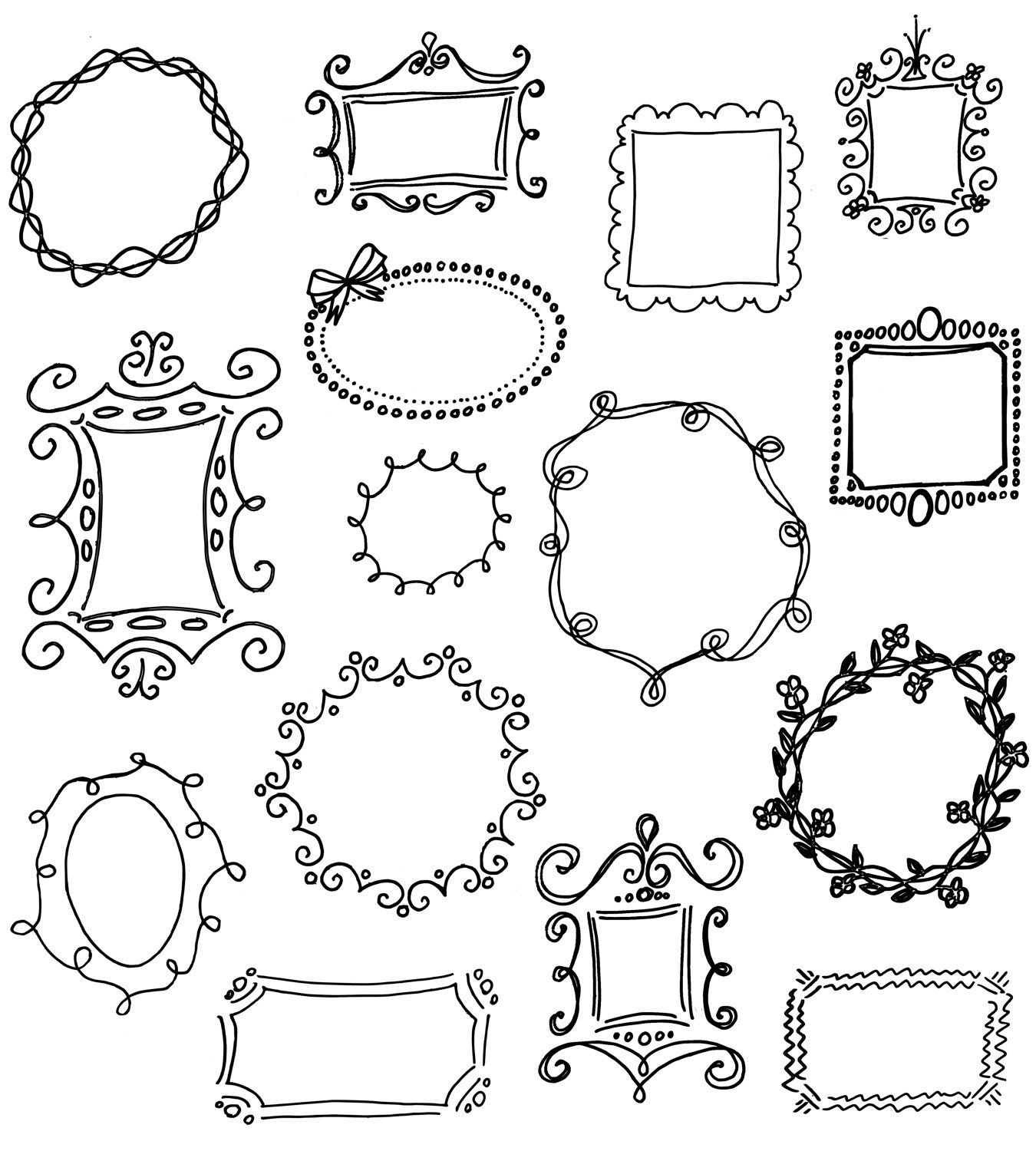 Black Frame Glasses Drawing : Doodle Frames Clip Art Pack // Unique Hand drawn by ...