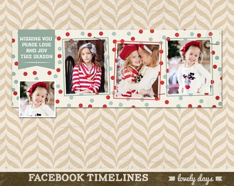 Christmas Facebook Timeline Cover Holiday Template for Photographers INSTANT DOWNLOAD