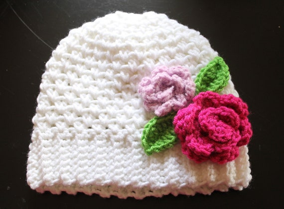 Items similar to PDF Pattern for White Crochet Beanie ...