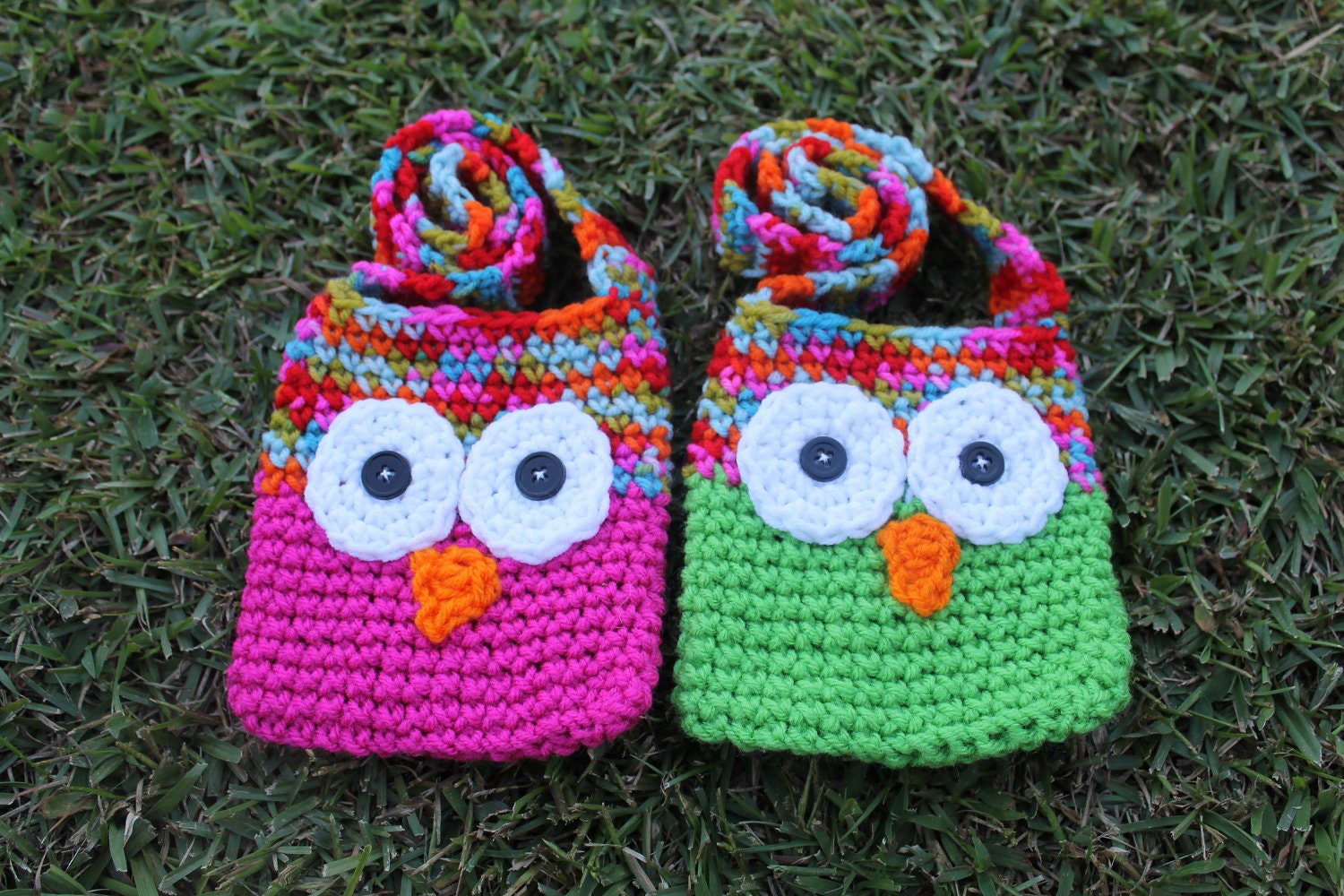 Crochet Patterns For Kids Bags : PDF Pattern for Kids Crochet Owl Bags with Strap. by KraftyShack