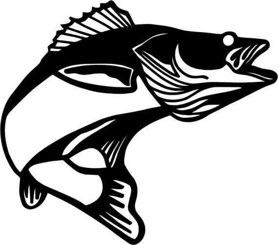 """Set of (2) - Walleye Pickerel Fish 3.75""""x4.25"""" vinyl sticker decal ..."""