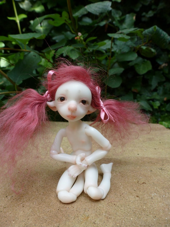 Blush/ dark pink handmade mohair wig for BJD Bjtales Mouse
